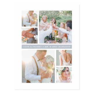 Fog Grey Stripe | Wedding Photo Collage Thank You Postcard