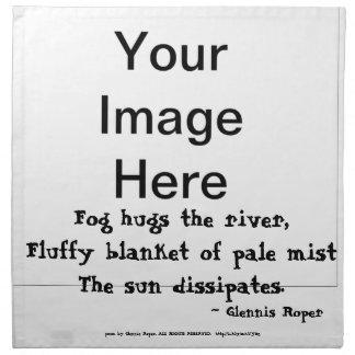 Fog Hugs the River haiku Cloth Napkins