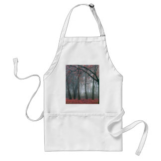 Fog in Autumn Forest with Red Leaves Aprons