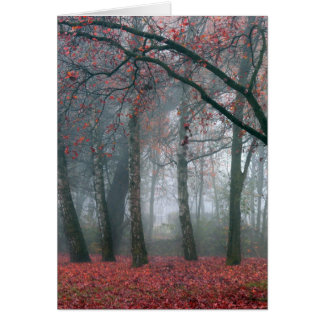 Fog in Autumn Forest with Red Leaves Greeting Card