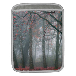 Fog in Autumn Forest with Red Leaves Sleeves For iPads