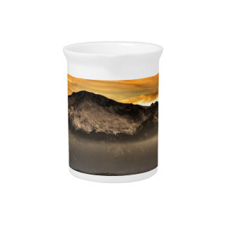 Fog Layer at Sunset Drink Pitcher