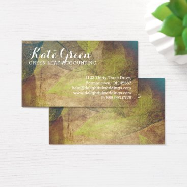 Beach Themed FOG Leaves Leaf Green Professional Nature Elegant Business Card