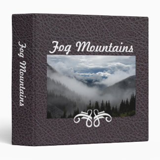 Fog Mountains Industrial Brown Faul Leather|Custom 3 Ring Binder