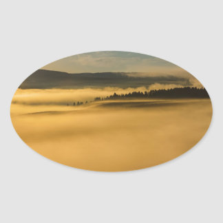 Fog On Yellowstone Lake Oval Sticker