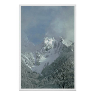 Fog Over The Mountain Top Poster