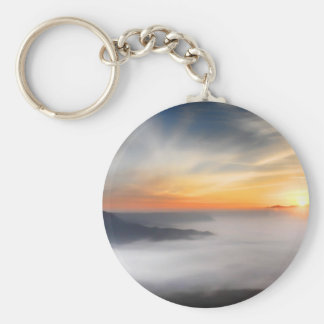 Fog over the mountains of japan during sunrise basic round button keychain