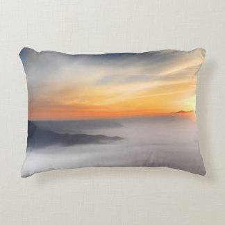 Fog over the mountains of japan during sunrise decorative pillow