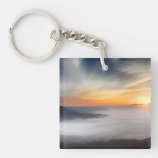 Fog over the mountains of japan during sunrise Double-Sided square acrylic keychain