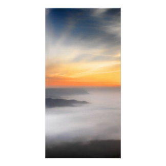 Fog over the mountains of japan during sunrise photo card