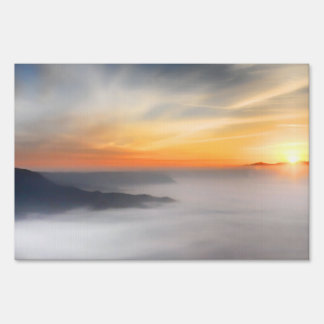 Fog over the mountains of japan during sunrise yard sign