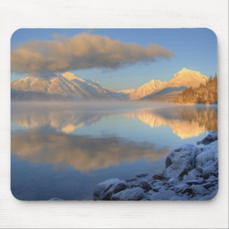 Fog rises from Lake McDonald on a very cold Mouse Pads