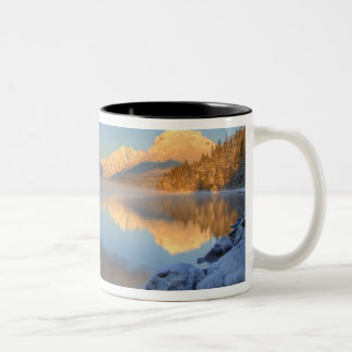 Fog rises from Lake McDonald on a very cold Two-Tone Coffee Mug