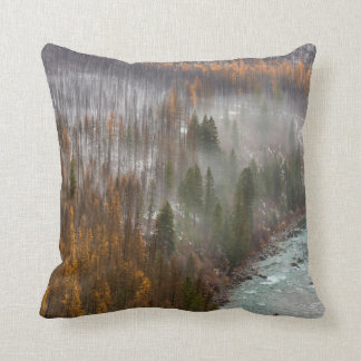 Fog Rolls In On Autumn Larch Trees Throw Pillow