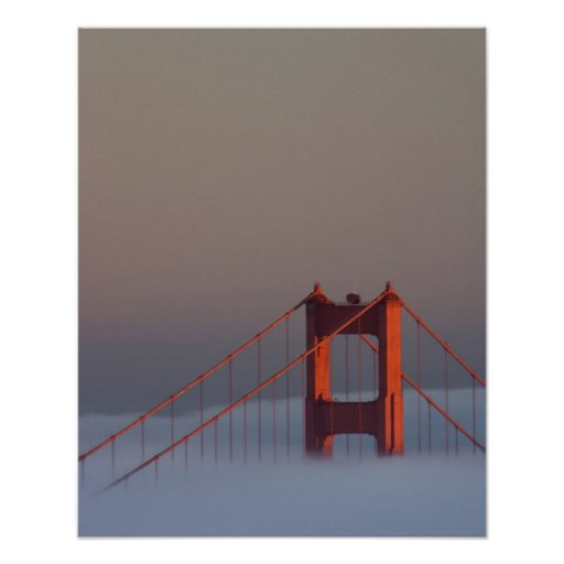 Fog rolls through the San Francisco bay covering Poster