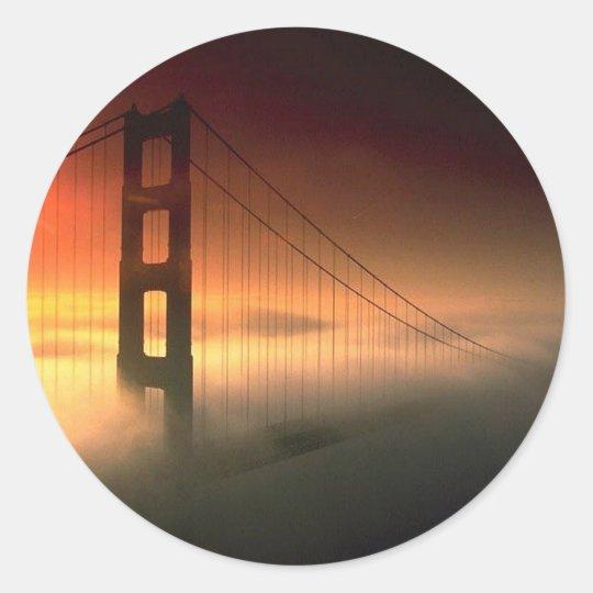 Fog Shrouded Golden Gate Classic Round Sticker