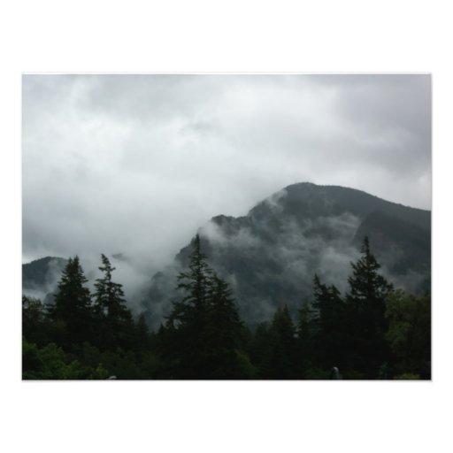 Fog Shrouded Mountain suitable for framing Photo