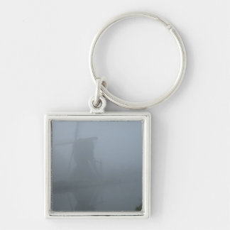 Fog Silver-Colored Square Keychain