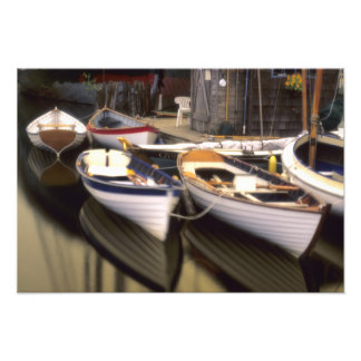 Fog surrounds four boats docked. photo print
