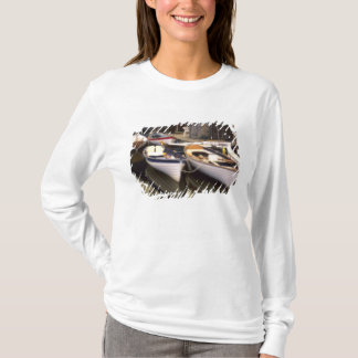 Fog surrounds four boats docked. T-Shirt