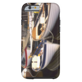Fog surrounds four boats docked. tough iPhone 6 case