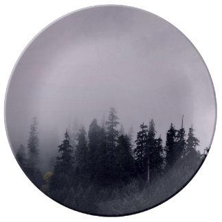 Fog Themed, Fog Hovers Over The Tops Of Evergreen Dinner Plate