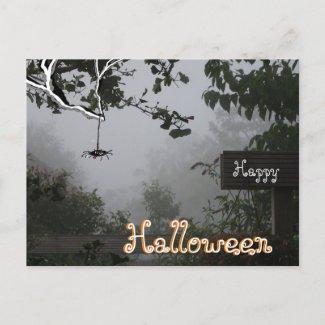 Foggy Autumn Garden with Spider HALLOWEEN Postcard