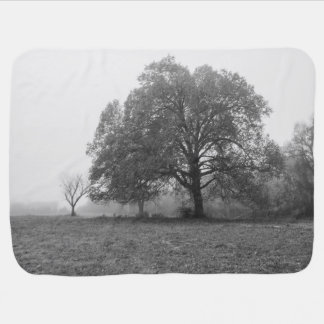 Foggy Autumn Morning Grayscale Baby Blanket