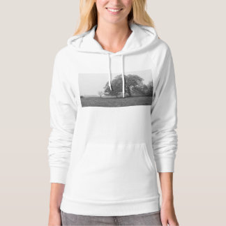 Foggy Autumn Morning Grayscale Hoodie