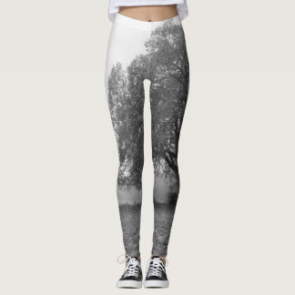 Foggy Autumn Morning Grayscale Leggings