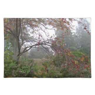 Foggy Autumn Morning In The Country Cloth Place Mat