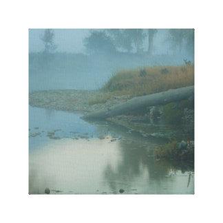 Foggy Bitterroot River Morning Design Canvas Print