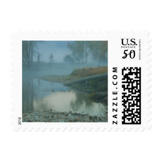 Foggy Bitterroot River Morning Design Postage