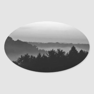 Foggy Black and white Oval Sticker