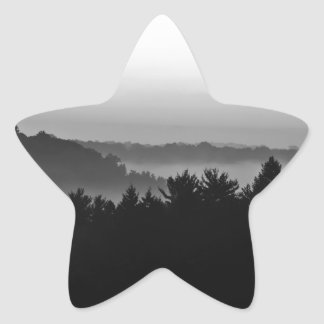 Foggy Black and white Star Sticker