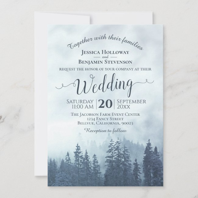 Foggy Blue Mountain Pines Rustic Outdoors Wedding Invitation