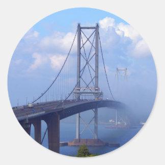 Foggy Bridge Classic Round Sticker