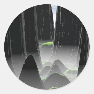 Foggy Canyon Pass Classic Round Sticker