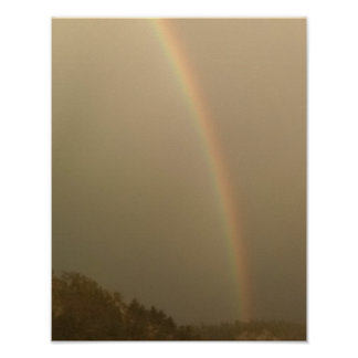 Foggy day, rainbow poster