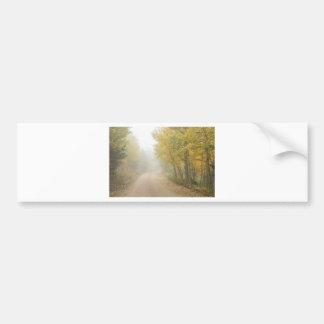 Foggy Dirt Road In The Autumn Season Bumper Sticker