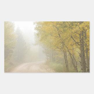 Foggy Dirt Road In The Autumn Season Rectangular Sticker