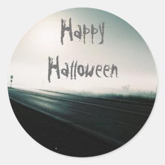Foggy highway halloween classic round sticker