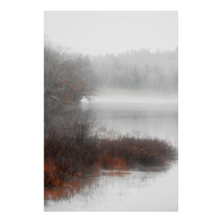 Foggy Lake on a Winter Day Poster