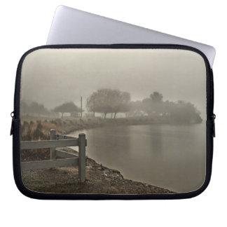 Foggy Lake Path Laptop Sleeve