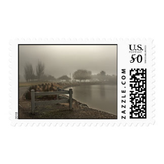 Foggy Lake Path Postage Stamps