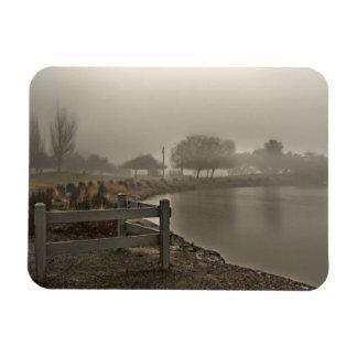 Foggy Lake Path Rectangular Magnet