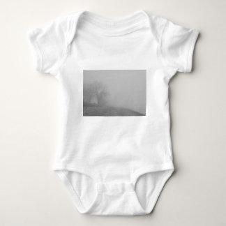 Foggy Lake Shoreline View BW Baby Bodysuit