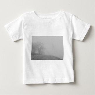 Foggy Lake Shoreline View BW Baby T-Shirt