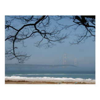 Foggy Mackinac Bridge Postcard