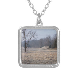 Foggy Meadow Square Pendant Necklace